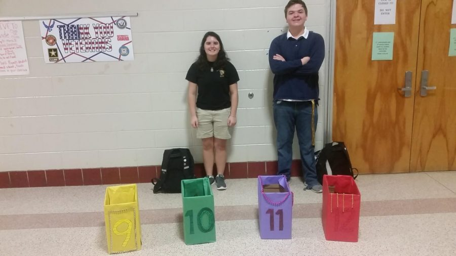 Leo+Club+members+stand+in+the+hallway+before+school+asking+for+donations.+Pictured+from+left+to+right+are+Lauren+Meyel+and+Mitchell+Weed.