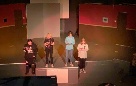 Members of Drama Club rehearsing